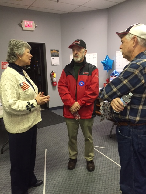 Former First Lady Frances Strickland talks with voters at Tuscarawas County Ohio Democratic HQ